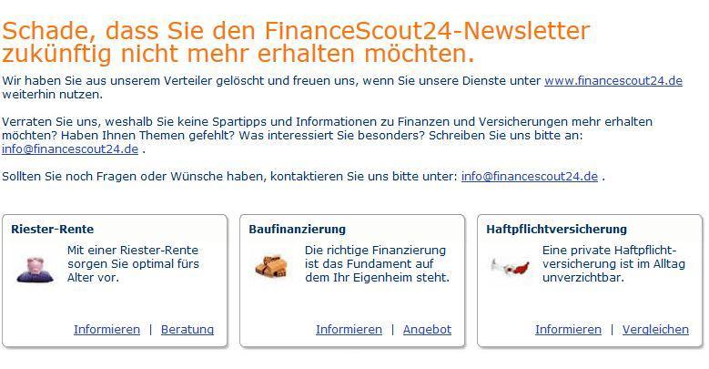 FinanceScout24-Abmeldung